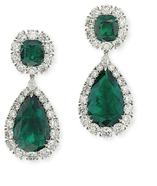 A superb pair of emerald and diamond ear pendants