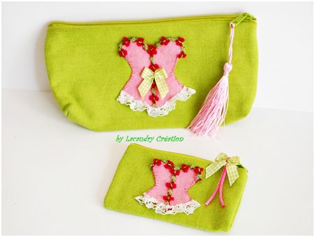 trousse a maquillage et porte monnais vert printemps et rose tendre lacaudry creation