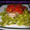 Thon à la méditerranéenne, tagliatelles au basilic (recette c. lignac)