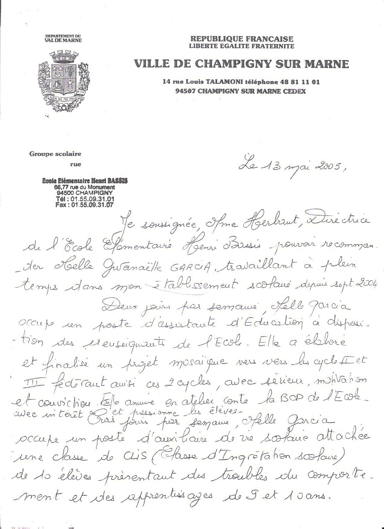lettre de recommandation avs Marie France HERBAUT   Groupe scolaire Henri Bassis (Champigny sur  lettre de recommandation avs
