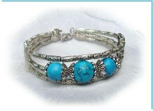 2 Rose Bracelet Ethnique Trianon Perles Turquoise 14 et 12 mm Argent du Tibet