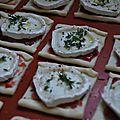Toasts feuilletés chèvre-cranberries