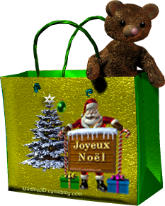019 gif joyeux Noel sac bag décorations nounours teddy bear