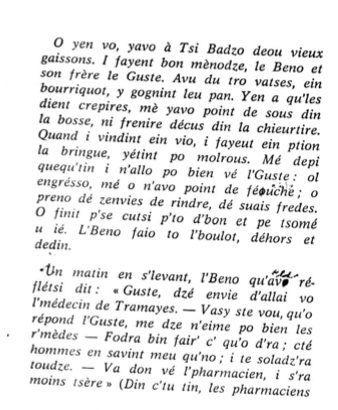 Le patois de Saint Bonnet des Bruyères (69) canton de Thizy