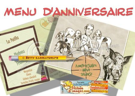 Menu Anniversaire dessins