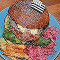 Naissance d'une légende: burger de black angus, fromage de bretonne pie noir et légumes de commana