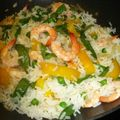 Riz thaï, bien colore... et aux crevettes