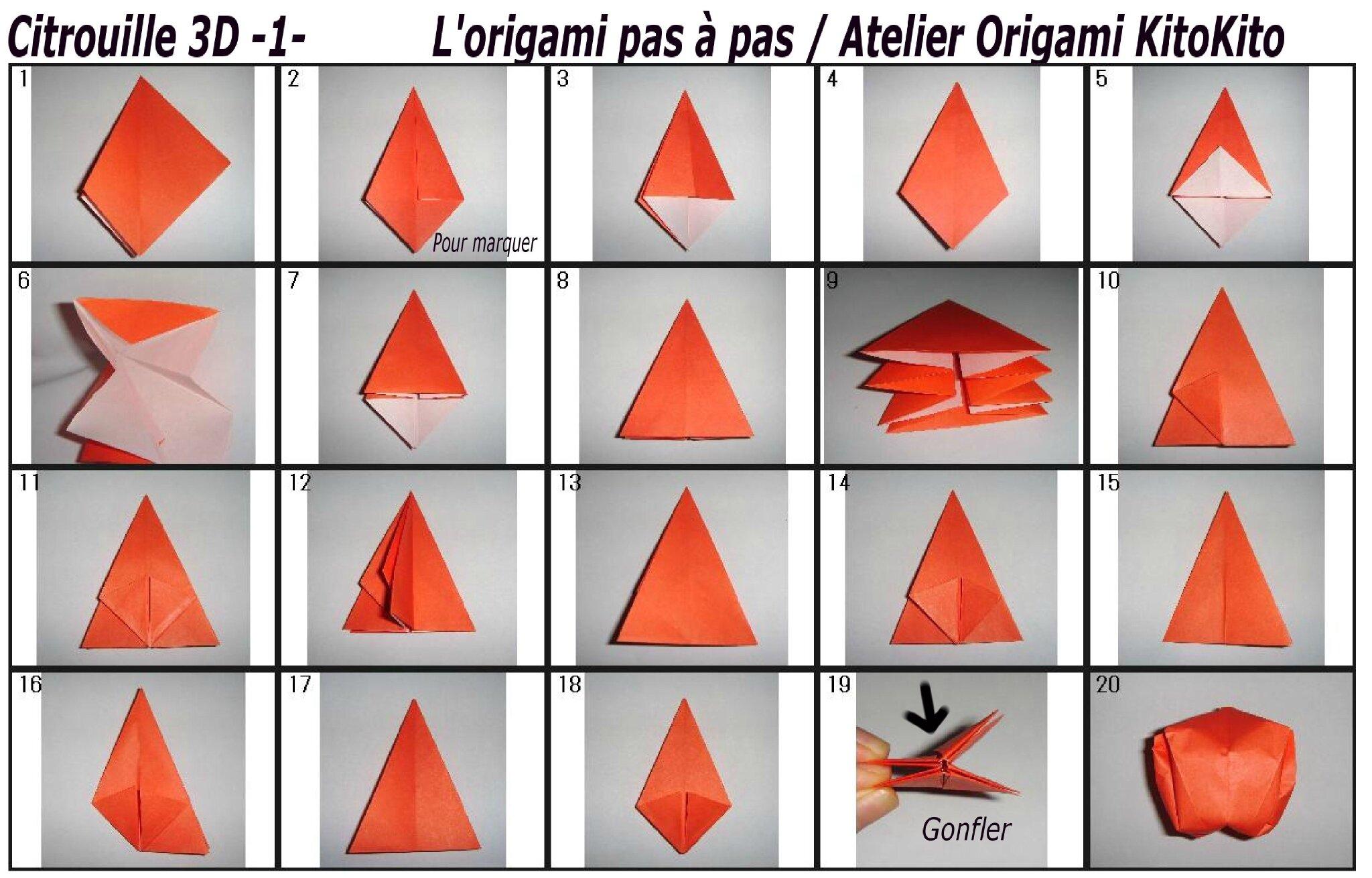 origami facile halloween citrouille