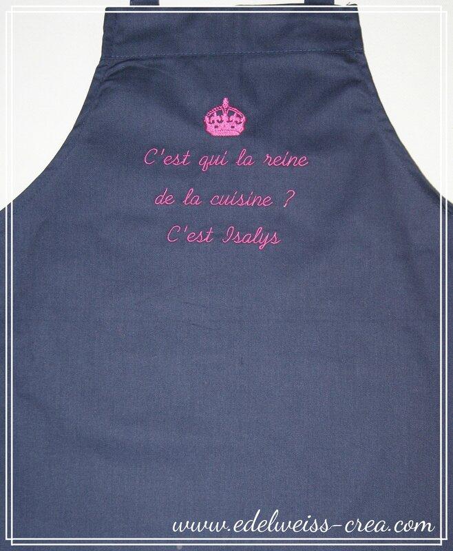 Tablier de cuisine enfant bleu marine - Prénom et message brodé