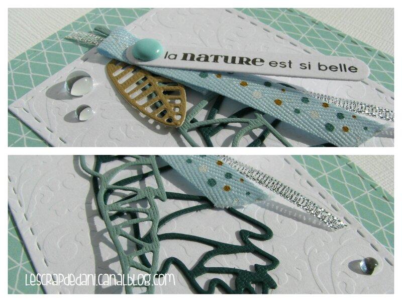 challenge n°5 4enscrap dani carte leaf aqua