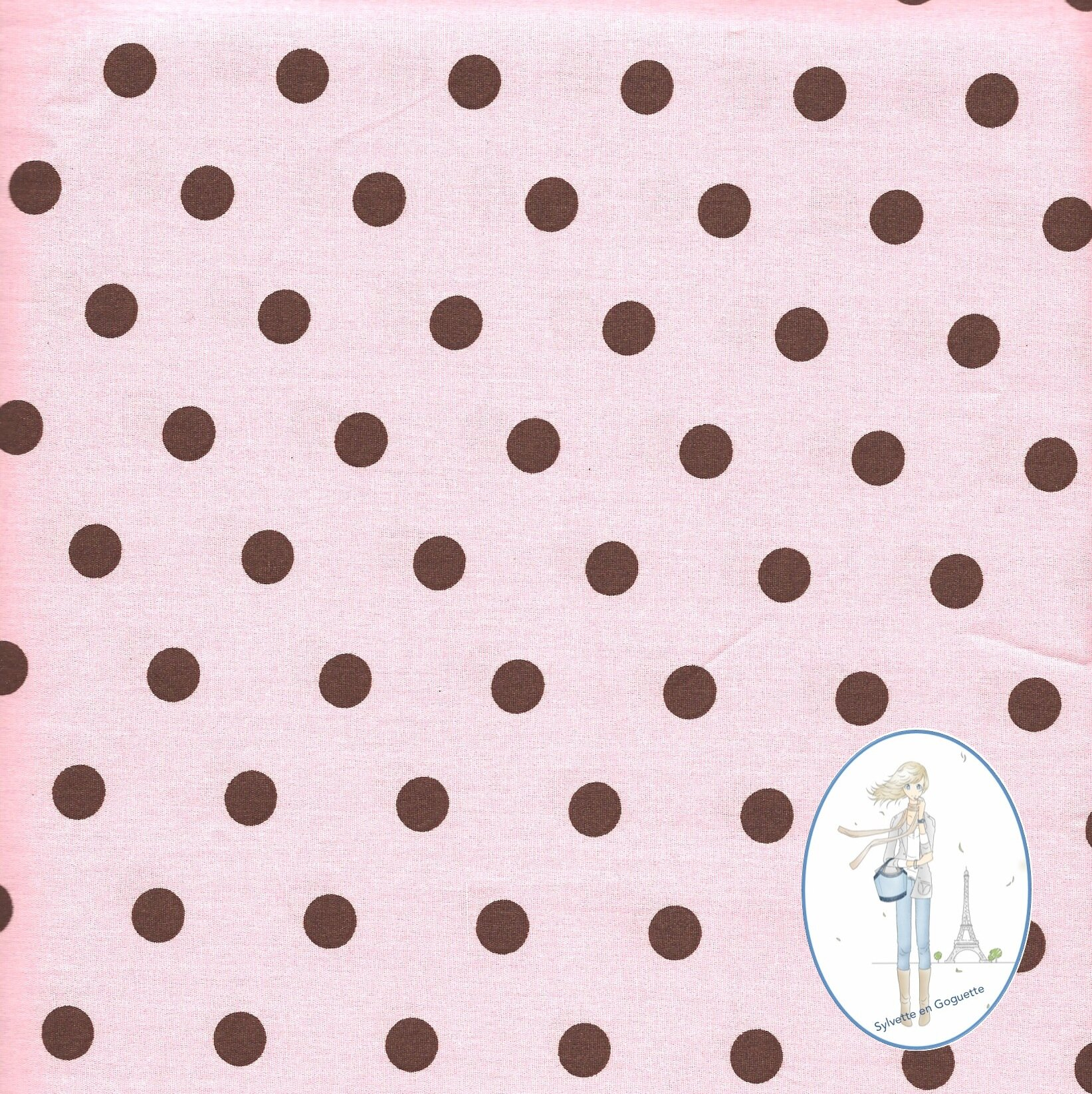 Couture coupon tissu gros pois chocolat fond rose 511 for Couture de tissus