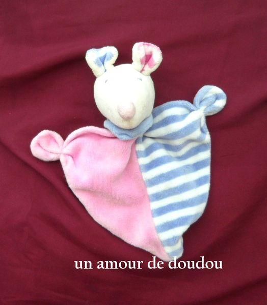 Doudou Plat Souris Baby Club Rose Rayé Blanc Et Violet