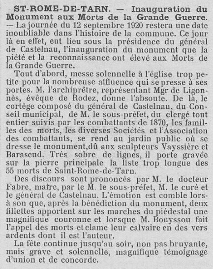 Saint-Rome-de-Tarn, journal de l'Aveyron 29 sept 1920