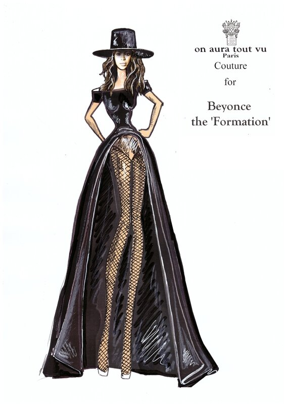 Beyonce wearing on aura tout vu couture dsress for Formation video music