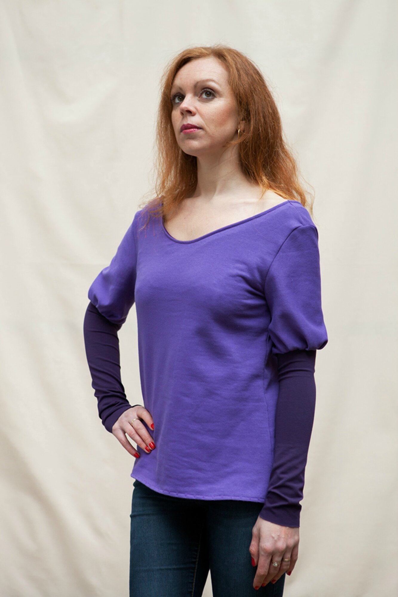Sweat manches gigot violet