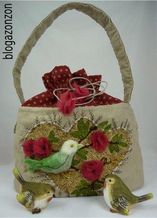 sac oiseau broderie ruban et laine feutrée