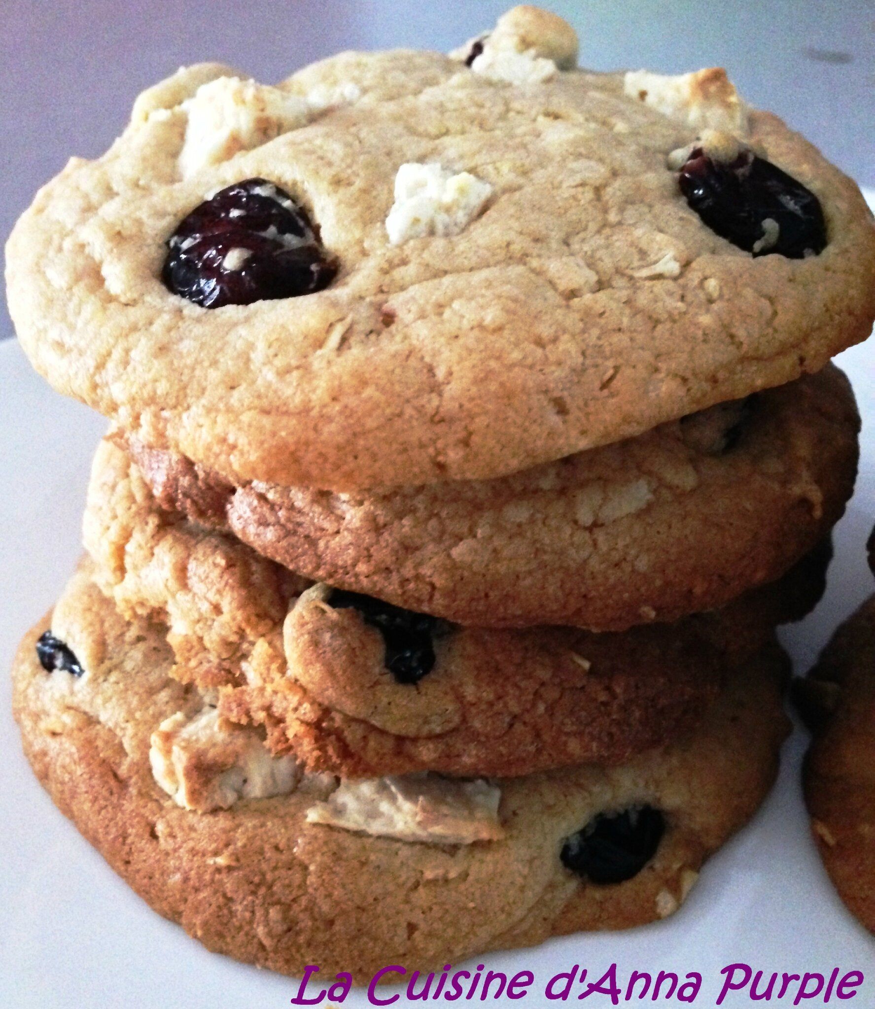 Cookies chocolat blanc-noix de coco et cranberries
