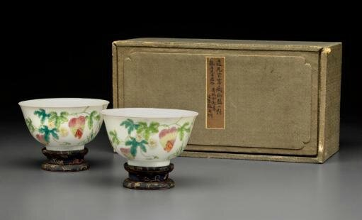 A pair of famille rose 'Bitter melon and Butterflies' bowls,Daoguang six-character seal marks and of the period