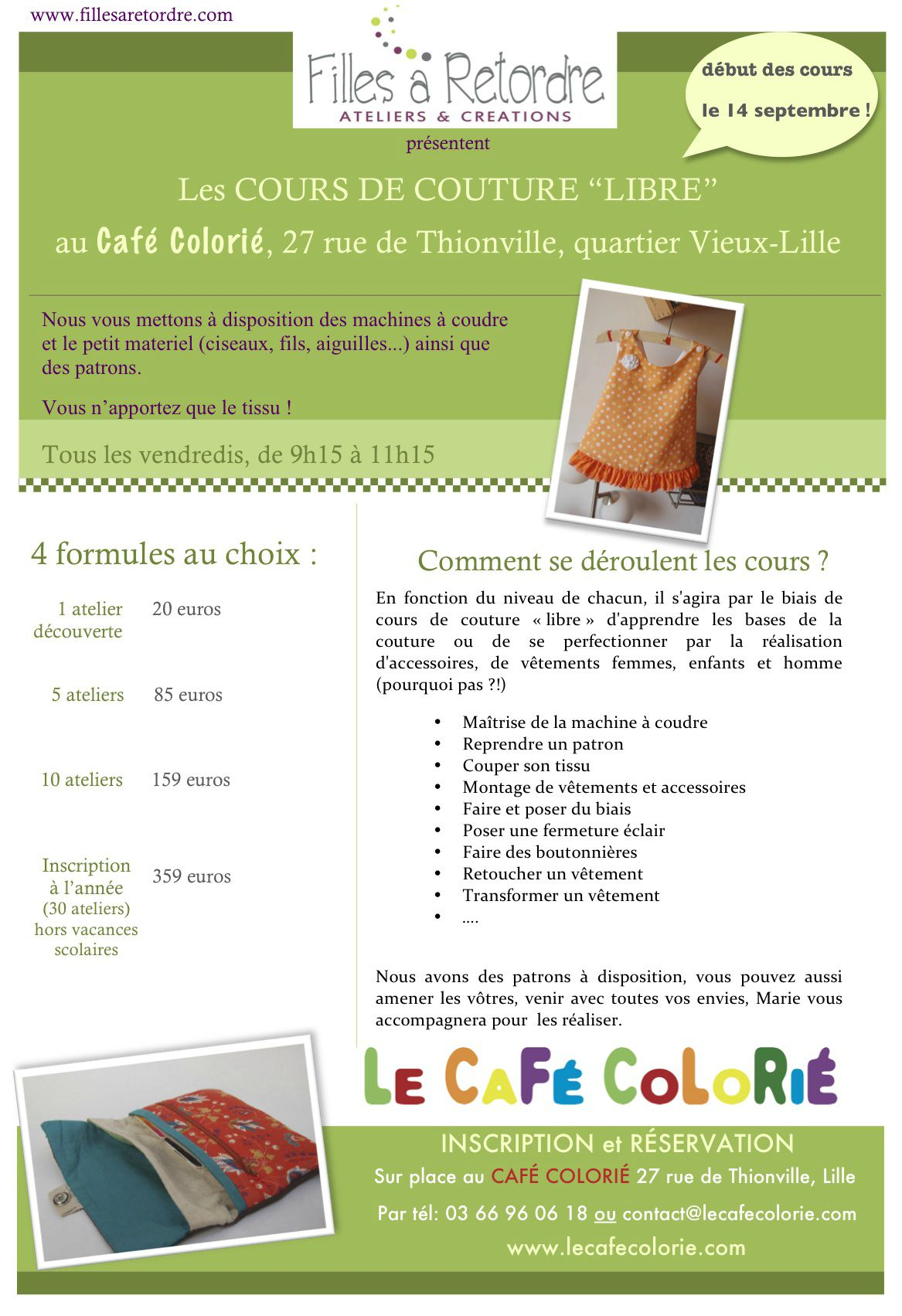 affiche cours couture
