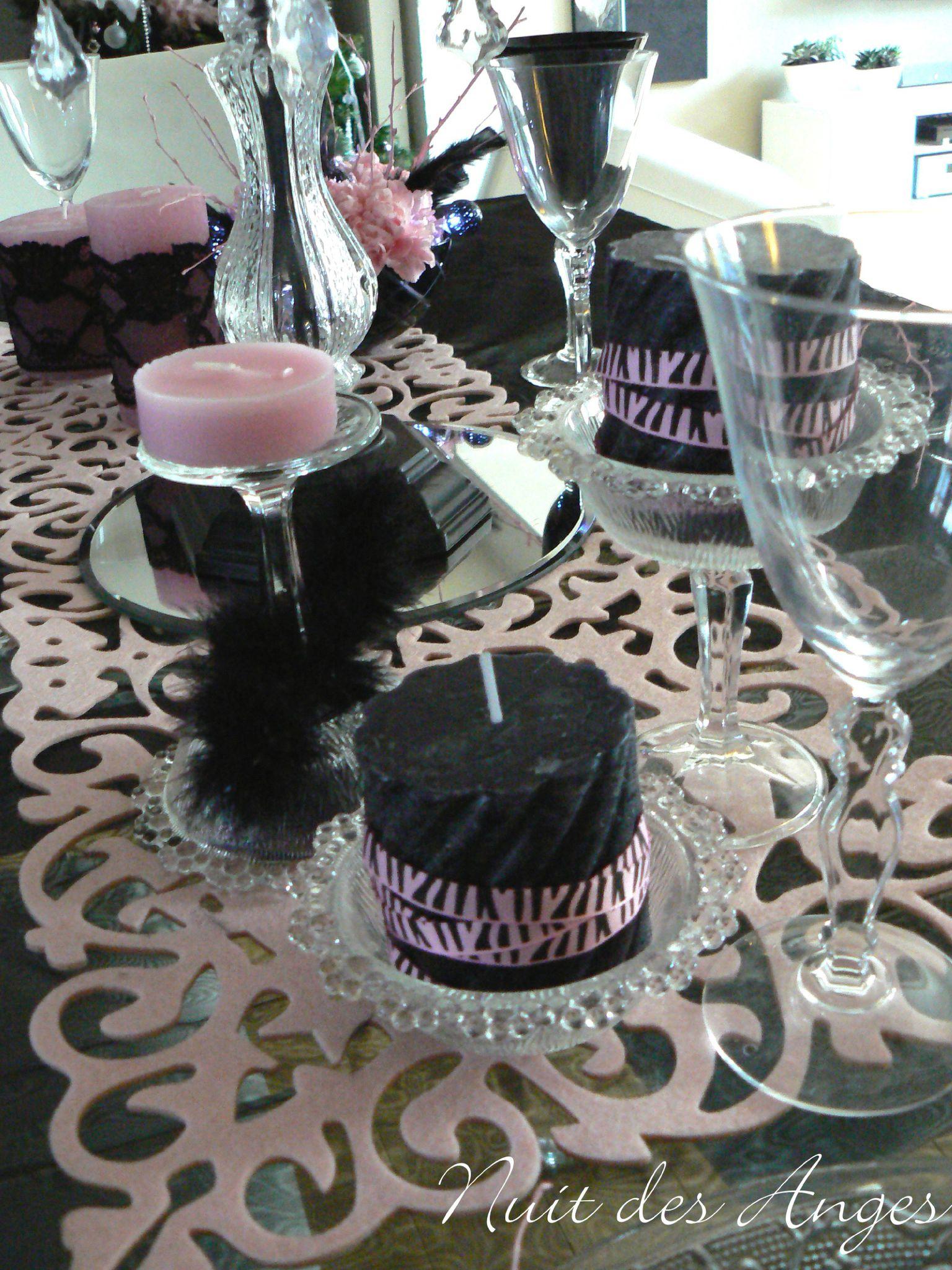 d coration de table noir et rose boudoir nuit des anges. Black Bedroom Furniture Sets. Home Design Ideas