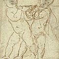 Raffaello sanzio, called raphael (1483-1520), two putti supporting a beam or a plaque, circa 1517-18