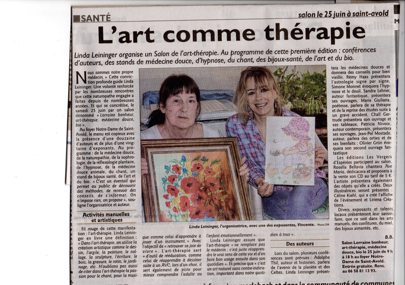 21 Juin article Art -thérapie RL St Avold