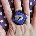 bague noir violet (b223)