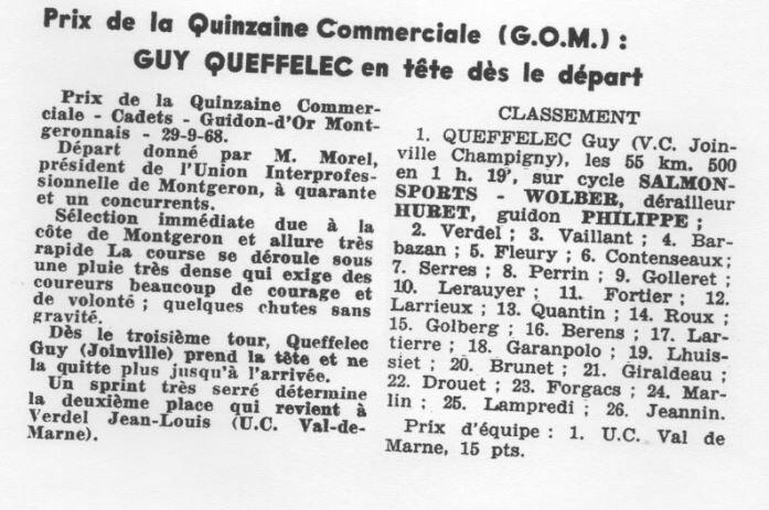 Prix quinzaine Commerciale Guy Queffelec