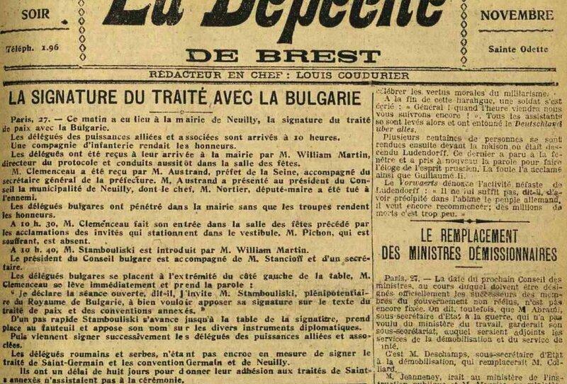 Dépèche de Brest 27 10 1919