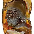 German, 17th-18th century, cameo with a helmeted warrior carrying a snake on his shield
