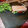Tartare de saumon fumé sur légumes croquants