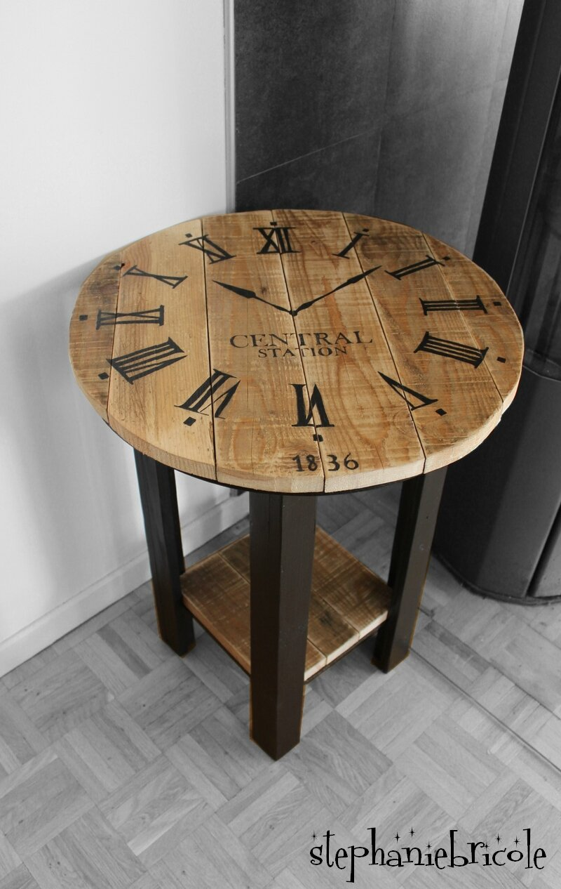 diy r cup palette un gu ridon relook motif horloge industrielle st phanie bricole. Black Bedroom Furniture Sets. Home Design Ideas