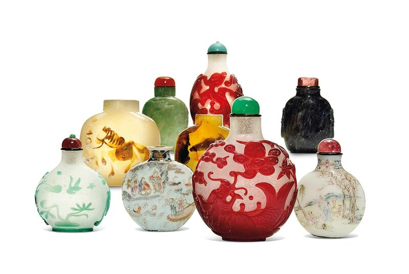 A selection of snuff bottles in glass, porcelain, jade and other hardstones predominantly dating to the 19th century