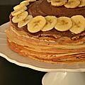 Gâteau de crêpes nutella et banane.