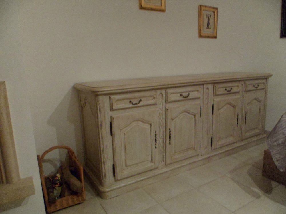 Bahut 4 portes craie patin marron relook meubles62 for Objet deco pour bahut