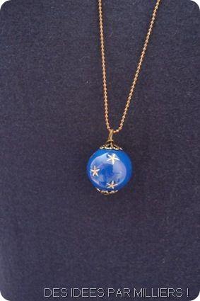 Sautoir grosse perle bleue detail