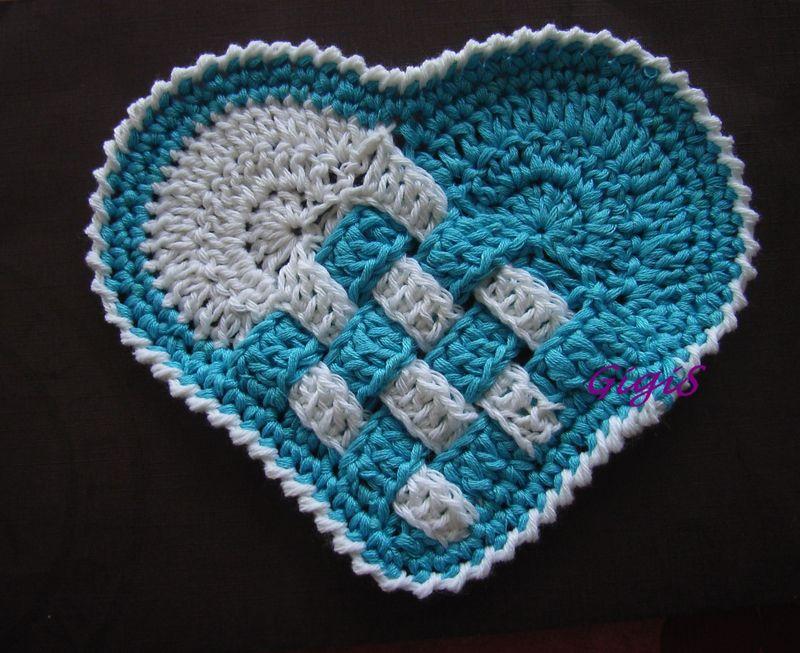 Le potholder corazon granny mania - Set de table crochet ...