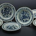 6 petits plats creux en porcelaine, Chine, province du Jiangxi, Jingdezen, dynastie Ming, début du XVIe s