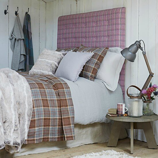 Country-panelled-bedroom-with-plaid-headboard--Country-Homes-and-Interiors--Housetohome_co_uk