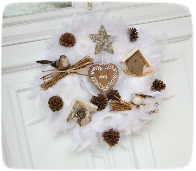 No l th me blanc couronne de porte photo de d co - Decoration couronne de noel ...