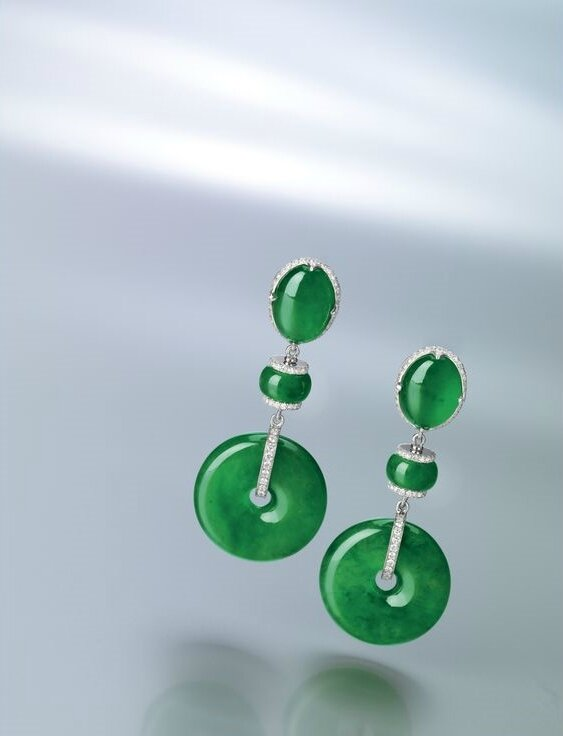 Fine Pair of Jadeite 'Discs', Jadeite and Diamond Pendent Earrings