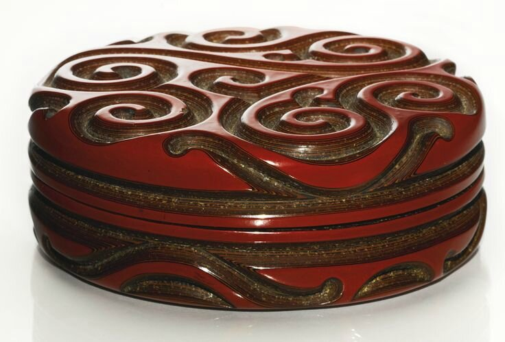 A finely carved 'tixi' lacquer box and cover, Yuan-Ming dynasty