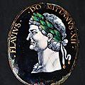 Médaillon en émail marqué flavius do mitianus xii. limoges, attribué à j.laudin. vers 1600