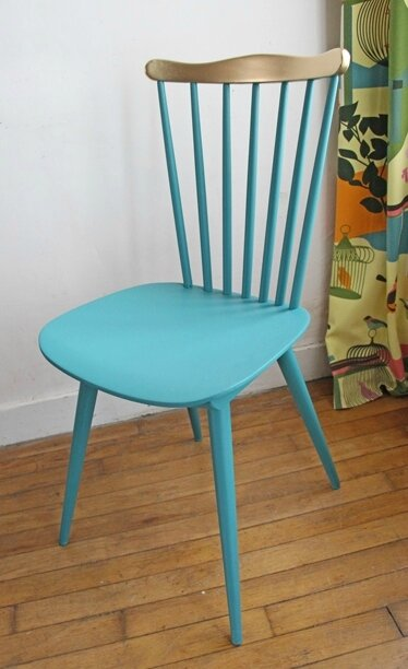 chaise-bistrot-vert-et-or-seule