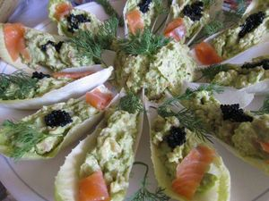 mousse avocats sur endive