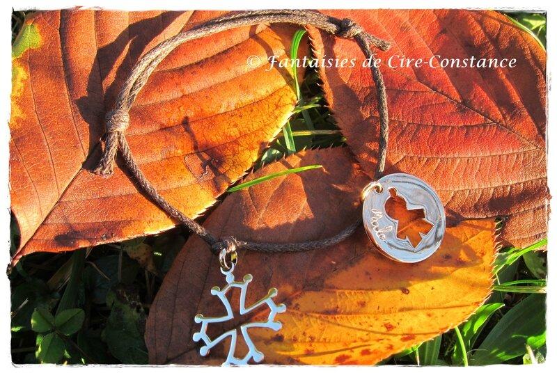 Bracelet Malo plaqué or enfant gravé croix occitane-2