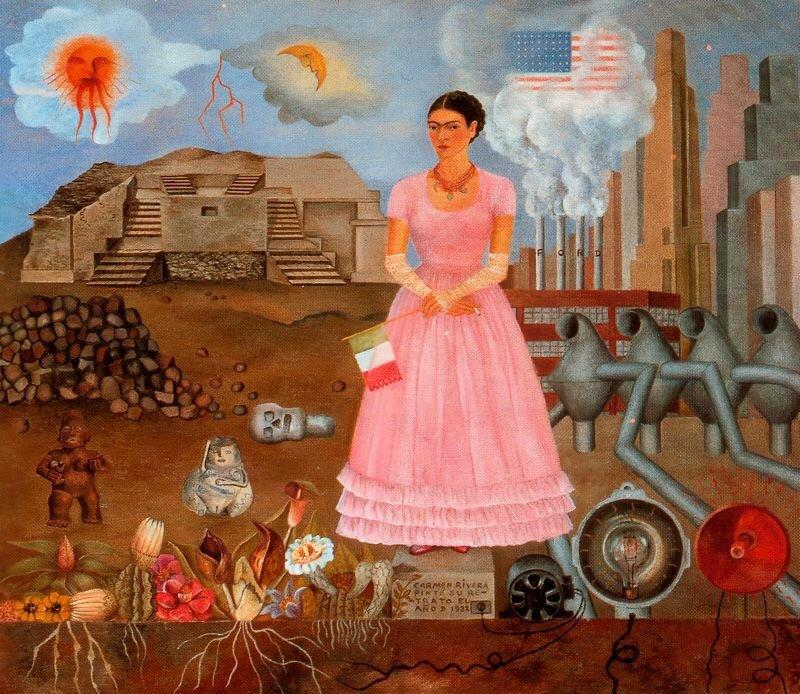 Autorretrato-en-la-frontera-de-Mexico-los-Estados-Unidos-1932