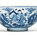 A fine blue and white 'Eight Immortals' bowl, Qianlong seal mark and period