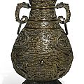 A rare and finely cast imperial bronze 'dragon' vase, qianlong mark and period (1736-1795)