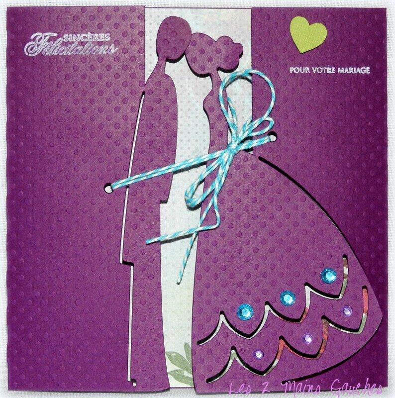 carte de félicitations de mariage violette avec couple